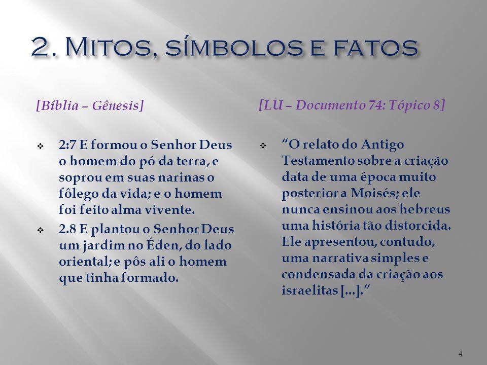 2. Mitos, símbolos e fatos [Bíblia – Gênesis]